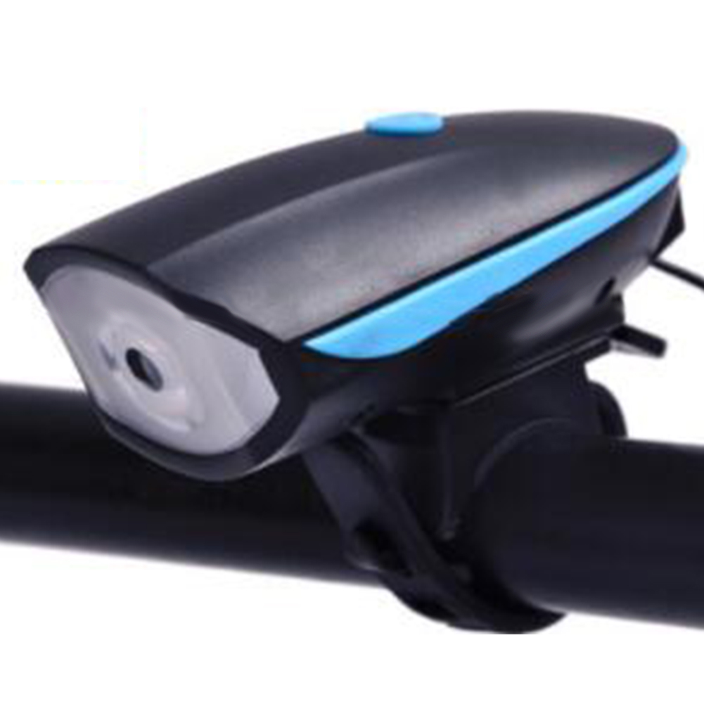 2 in 1 Bike Light LED Flashlight with Bell Horn Road Cycling Headlight Bicycle Accessories Battery blue