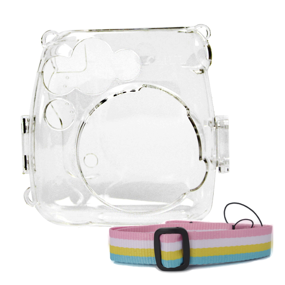 Crystal Transparent Protective Case Cover Pouch Shoulder Strap for Fuji Fujifilm Instax Camera Mini 9 8 8+Instant Accessories Transparent