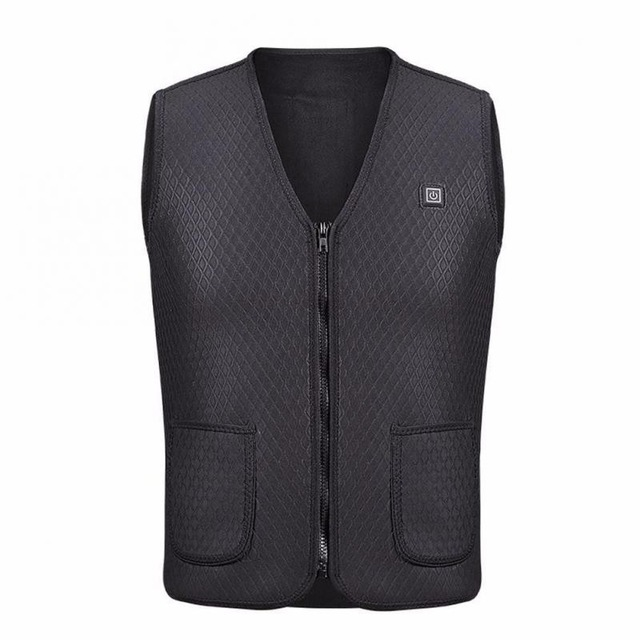 Men And Women Winter USB Warm Electric Jacket for Vest Hiking And Camping black_XL