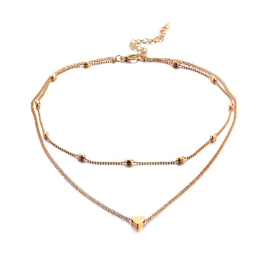Women Necklace Alloy Simple Style Fashion Peach-heart-shape Multi-layer Clavicle Necklace Golden