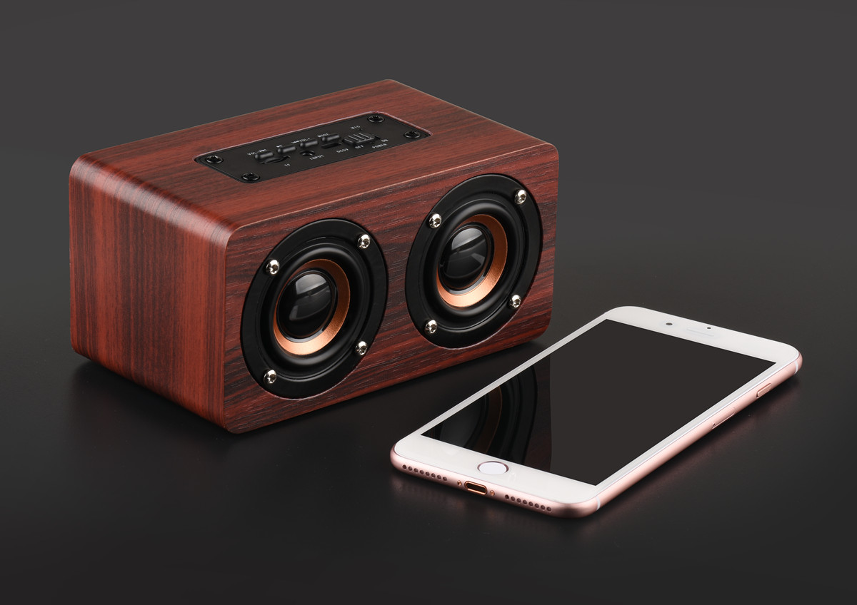 Wooden Bluetooth Speaker - 10W Output Power, 3.5mm Audio Input, Control Panel, Build-in Mic