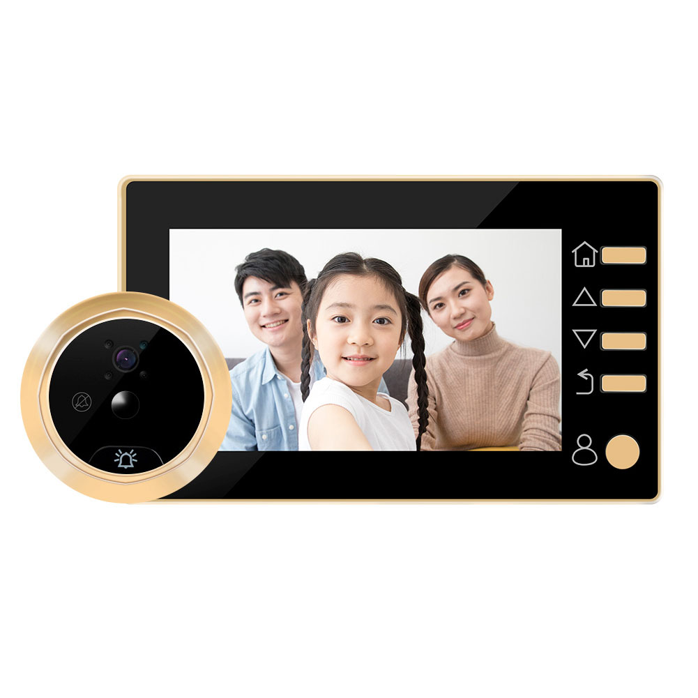 Wireless Doorbell 4.3-inch HD Smart Electronic Peep Hole Visual Doorbell Supports Motion Detection Video Photo Recording Gold