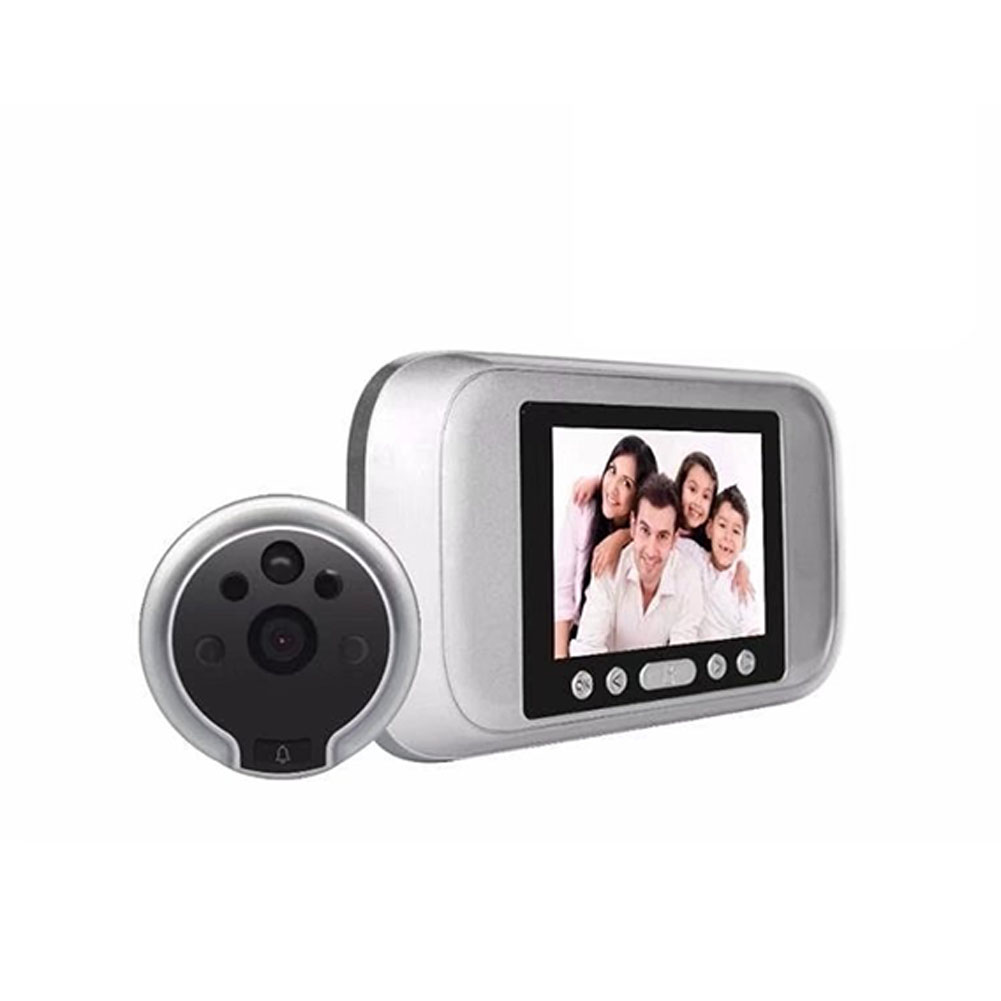 Wireless Doorbell 720P HD Intelligent Electronic Peep Hole Visual Doorbell Human Body Detection Photo Automatic Recording Silver