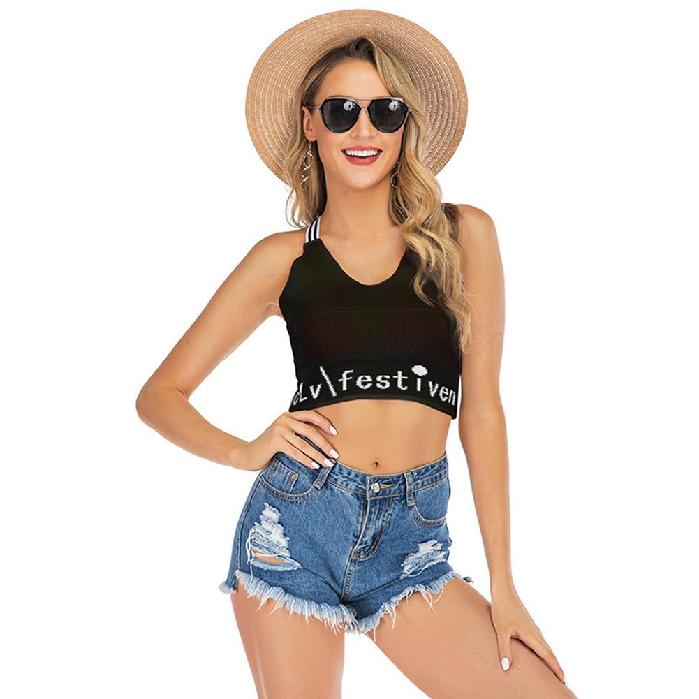 Women Vest Crop Top Cross Sling Backless Letter Print Sexy Slim Lady Camisole Black_S
