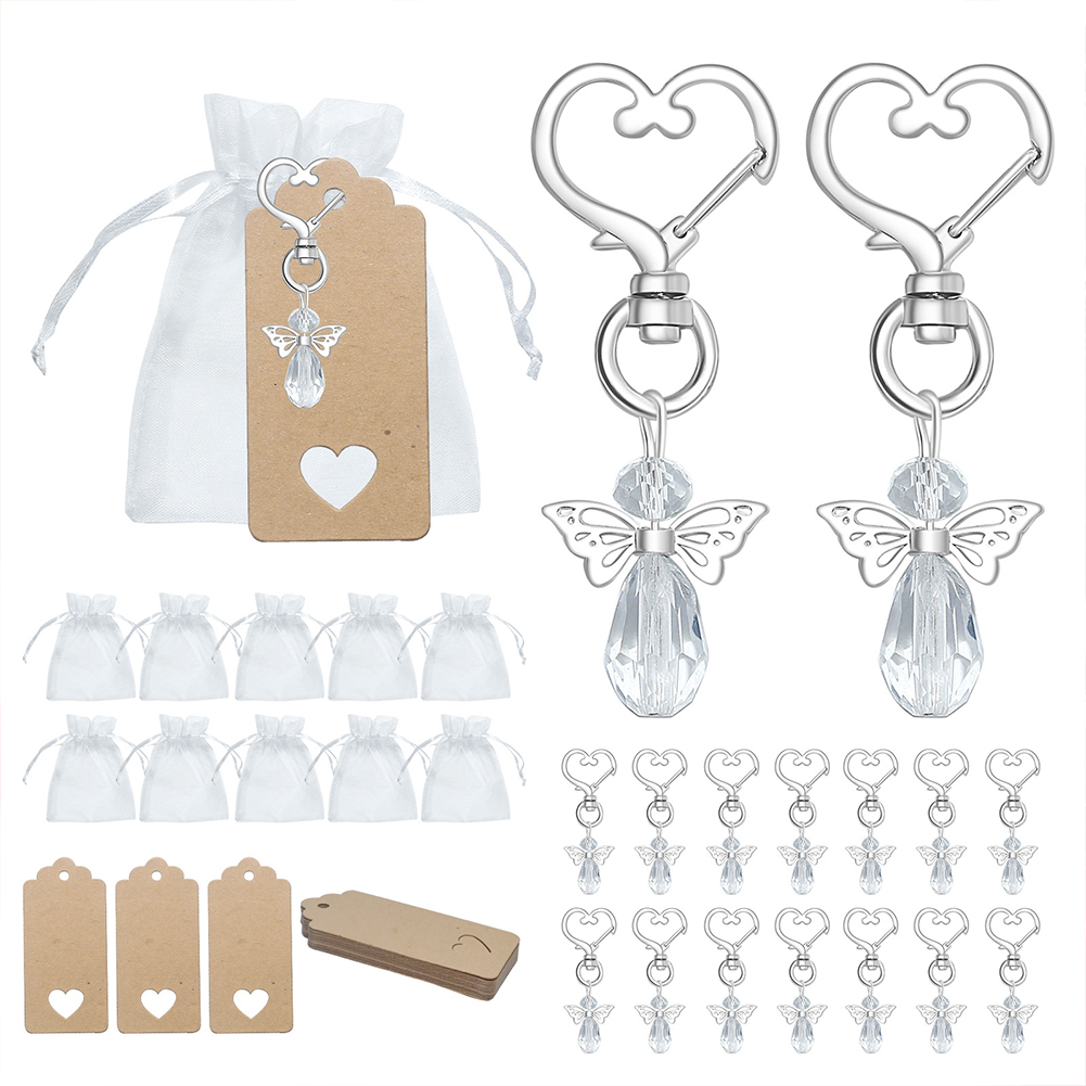 30pcs Angel Wing Shape Keychain For Baby Birthady Celebration Wedding Party Ornaments White