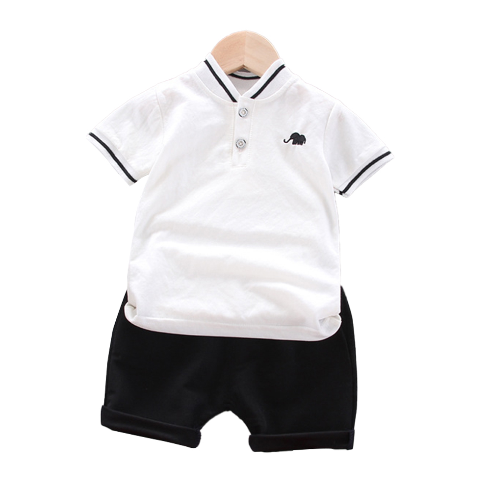 Kids Boys Cotton Embroidered Shirt with Elephant Printing + Shorts for Baby white_90cm