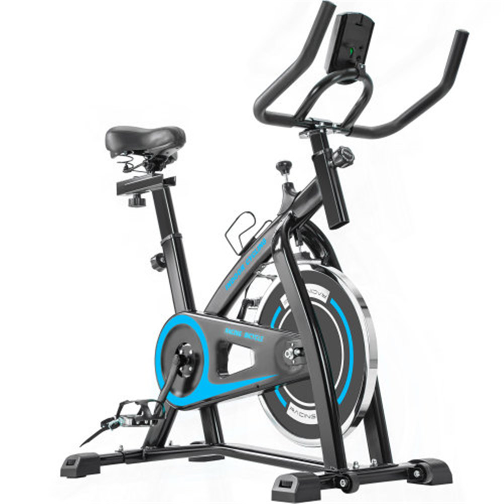 [US Direct] Indoor Bicycle Trainer With Comfortable Seat Cushion Exercise Bike With Belt Drive System Lcd Monitor blue