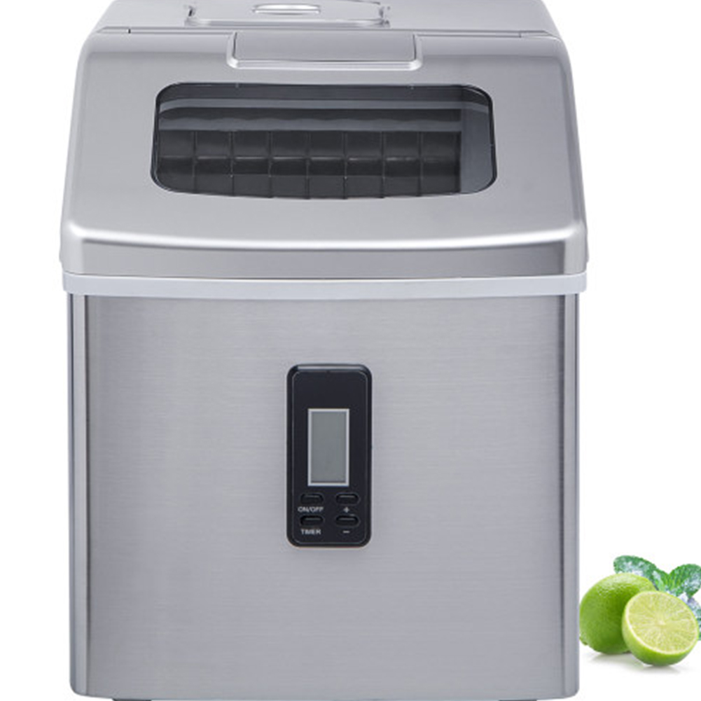 [US Direct] Ice  Maker  Machine For 48 Lbs / 24h Crystal Ice Cubes With Household Ice Shovel Silver