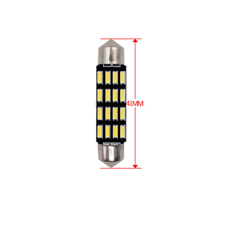 36/39/41mm LED Bulb Bright double - pointed reading lamp 5W Super Bright 4014 16SMD Interior Doom Lamp 41MM white