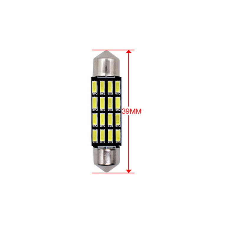 36/39/41mm LED Bulb Bright double - pointed reading lamp 5W Super Bright 4014 16SMD Interior Doom Lamp 39MM white