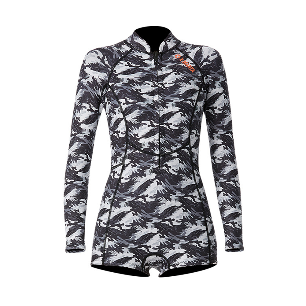 1.5MM Siamese Wet-type Warm Long Sleeve Jellyfish Swimming Surfing Stocking Suit Camouflage top_S