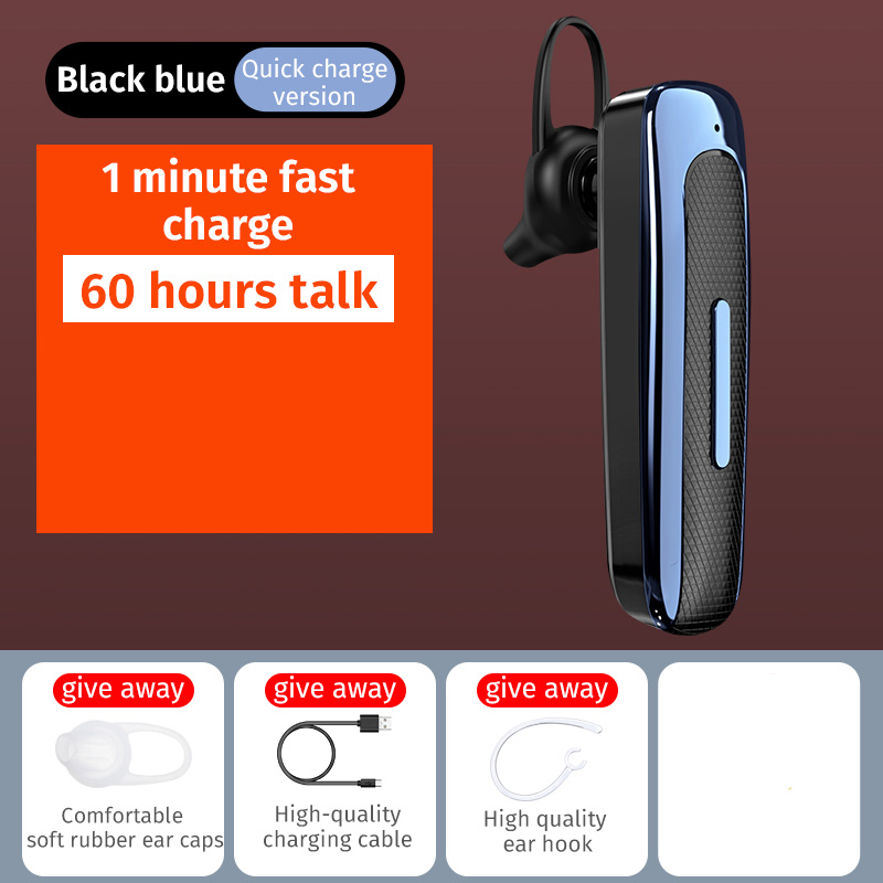 E03 Smart Wireless  In-ear  Earphones Mobile Phone Universal Driving Business Mini Bluetooth Headset Black blue