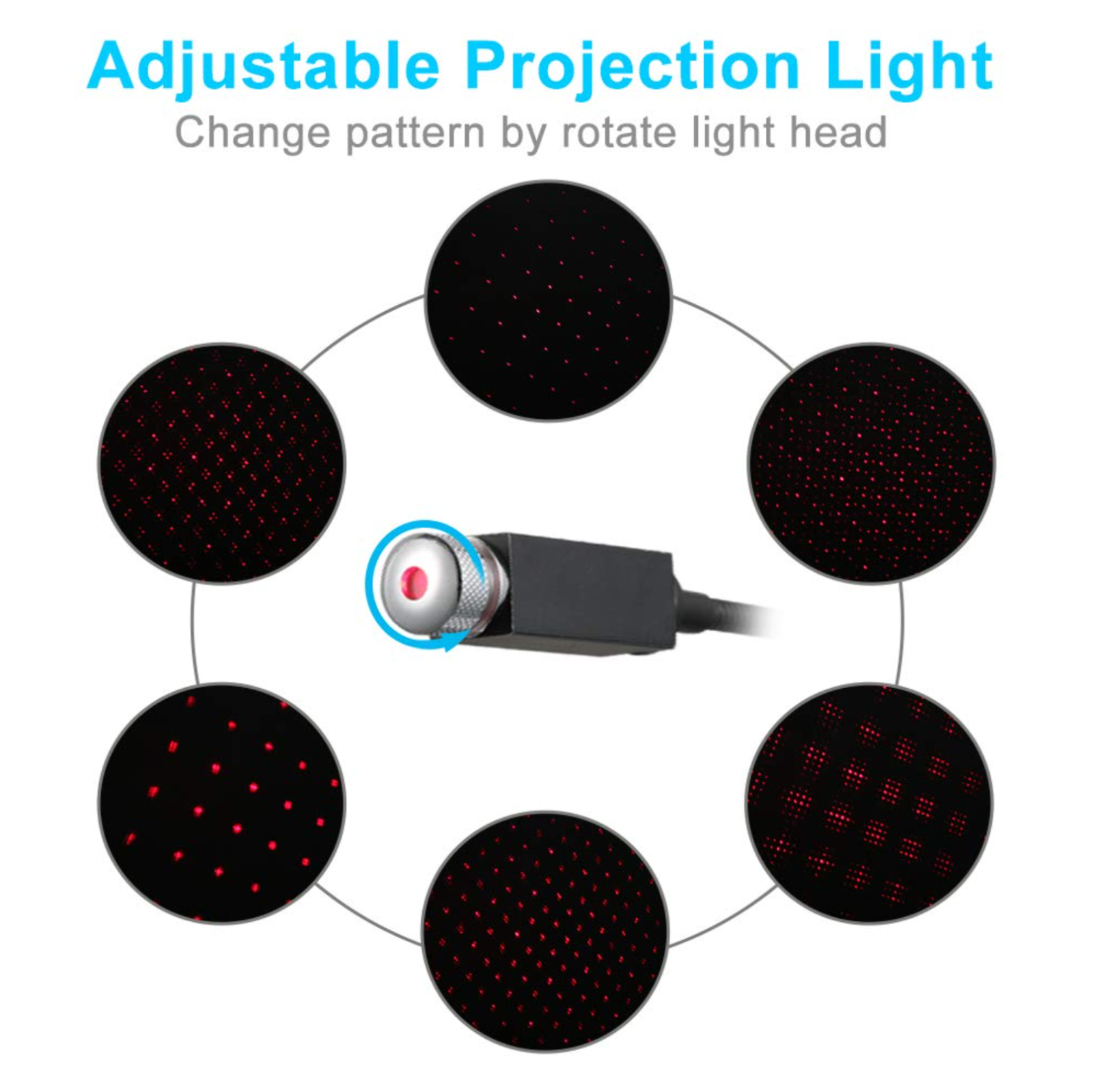 Car  Interior  Atmosphere  Star  Sky  Lamp Usb Ambient Star Light Led Projector Red Red light