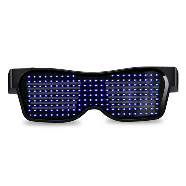 Led Party Glasses App Control Bluetooth Customized Languages Flashing USB Charge Luminous Eyewear Christmas Concert Light Toy  Black Frame Blu-ray
