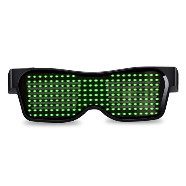 Led Party Glasses App Control Bluetooth Customized Languages Flashing USB Charge Luminous Eyewear Christmas Concert Light Toy  Black frame green light