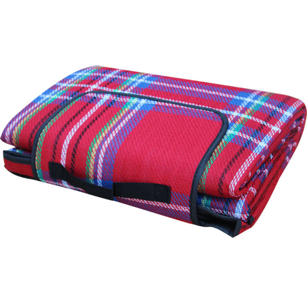 Outdoor Beach Picnic Folding Camping Mat Waterproof Sleeping Camping Pad Mat Moistureproof Plaid Blanket red_200 * 150