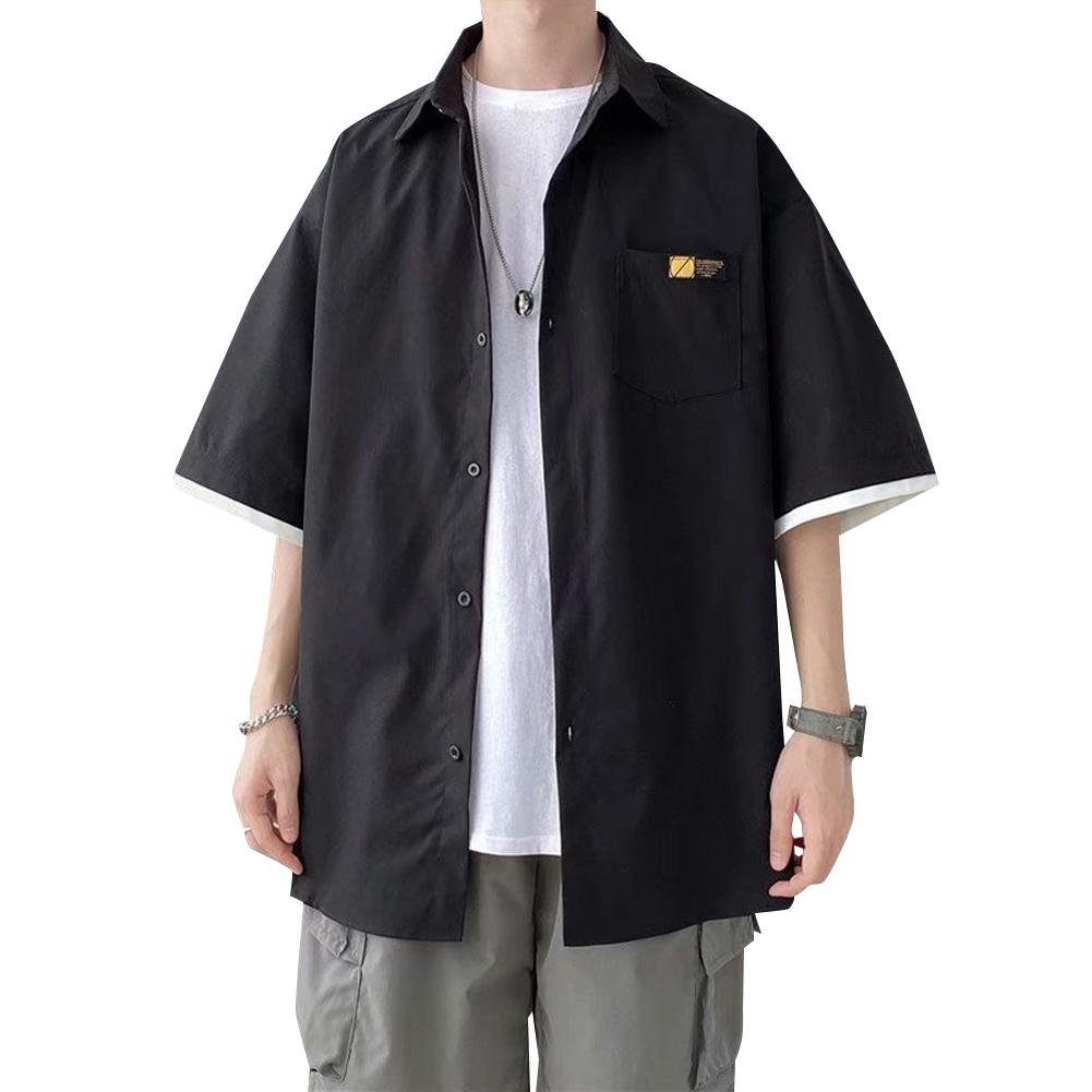 Men  Shirt Summer Short-sleeved Loose Lapel Fake Two-piece Shirt Casual Color Matching Top Black_XL