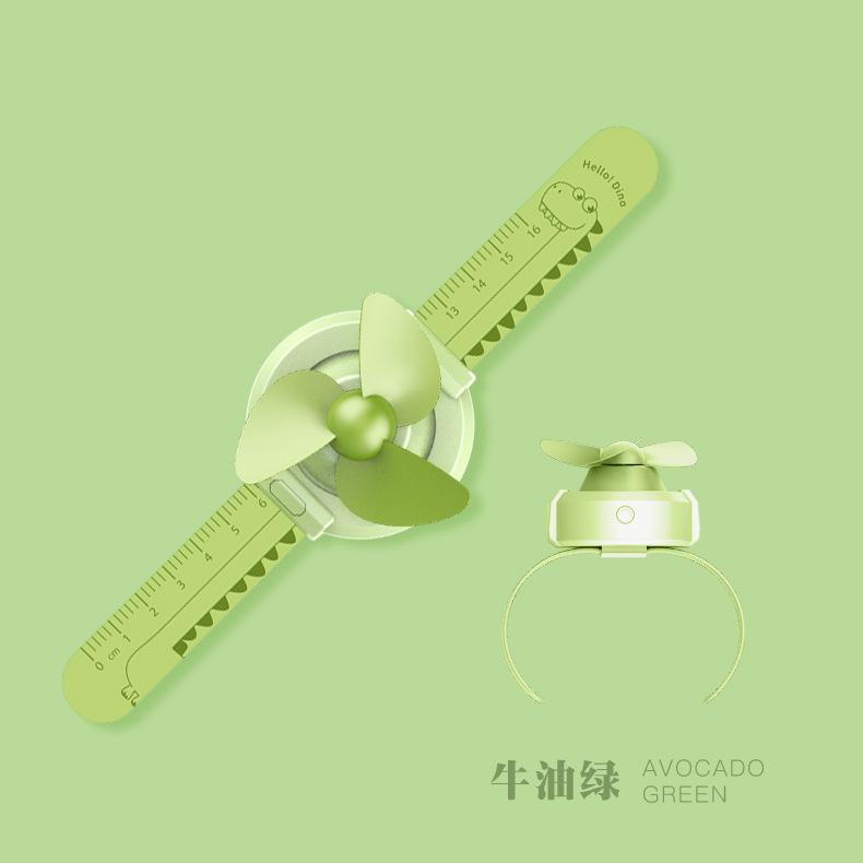 Mini Cartoon Watch Handheld Fan Automatic Adjustment Fan Toy for Kids green_61 * 60 * 47mm