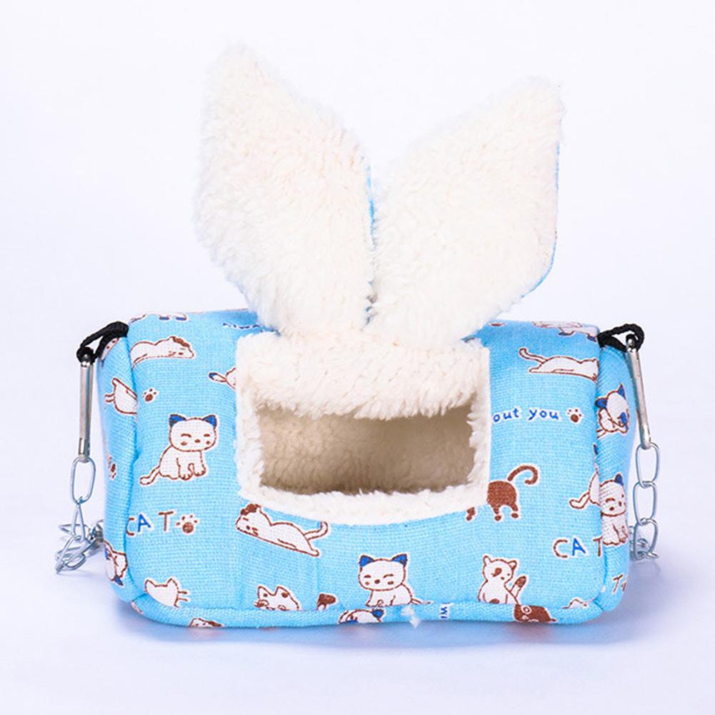 Sugar Glider Cotton Warm Nest Sleeping Bag Hanging Winter Sleeping Bag Hamster Rabbit Cat Sleeping Nest Pet Cage blue_L