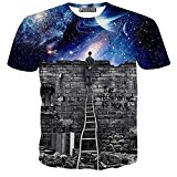 Unicomidea Men`s Fashion Casual Galaxy Graffiti Print T-Shirts