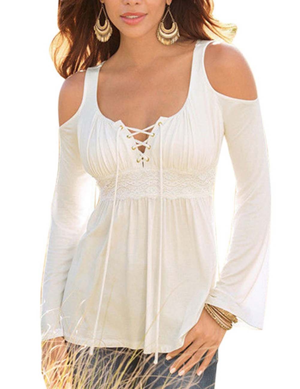Women Fashion Sexy Off-shoulder Lace Long Sleeve Shirt Soft Cotton Casual Tops Clothes