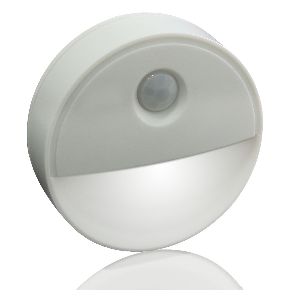 Round Shape Infrared Human Body Induction Lamp for Home Wall Cabinet Night Light  white light