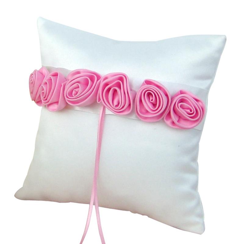 Satin Rose Flower Rustic Elegant Square Wedding Ring Pillow Pink