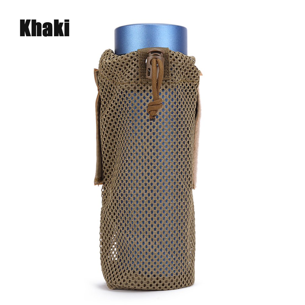 FGJ Lightweight Molle Outdoor Water Bottle Bag Camping Cycling Hiking Foldable Belt Holder Kettle Pouch  Khaki_9*23