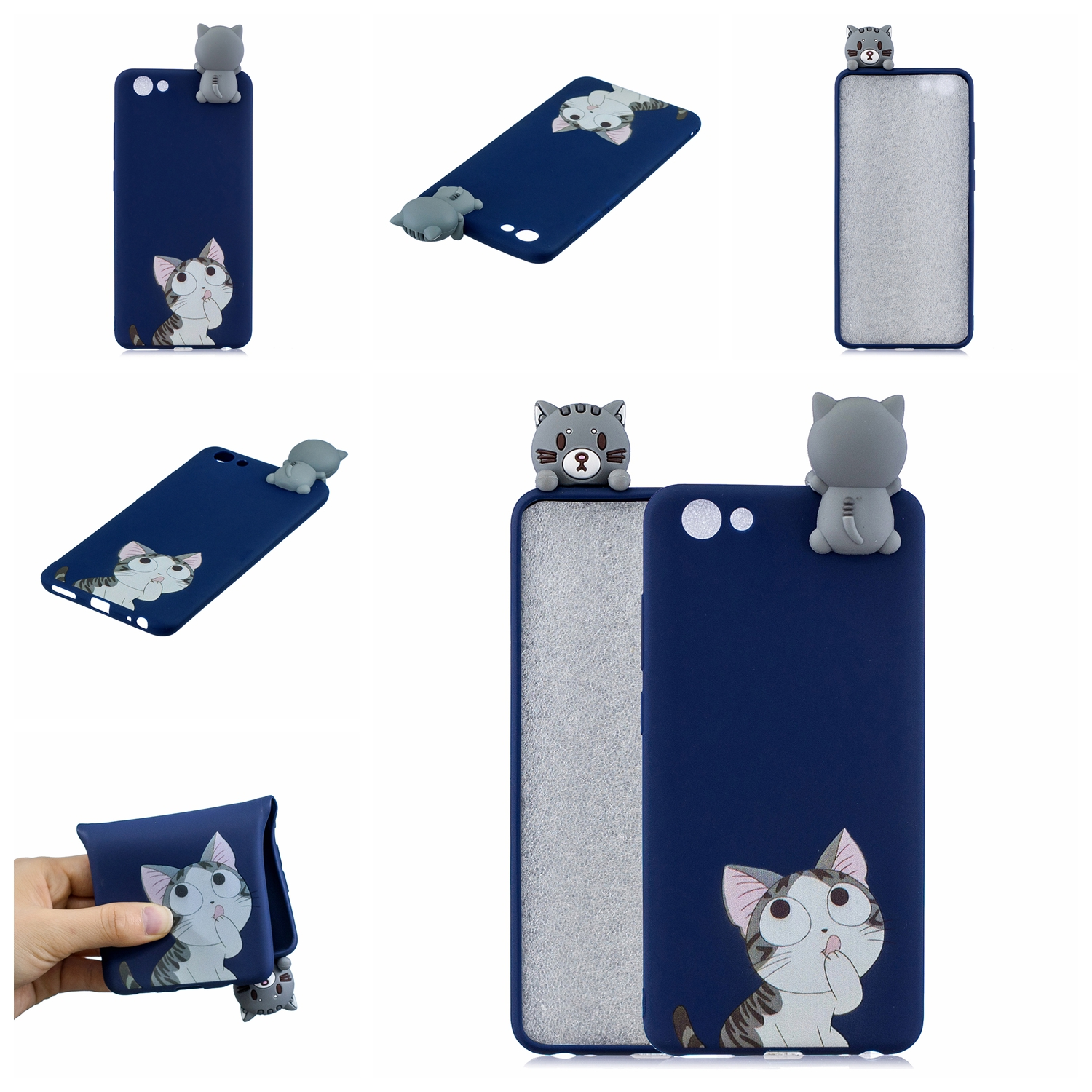 For VIVO Y71 3D Cute Coloured Painted Animal TPU Anti-scratch Non-slip Protective Cover Back Case big face cat