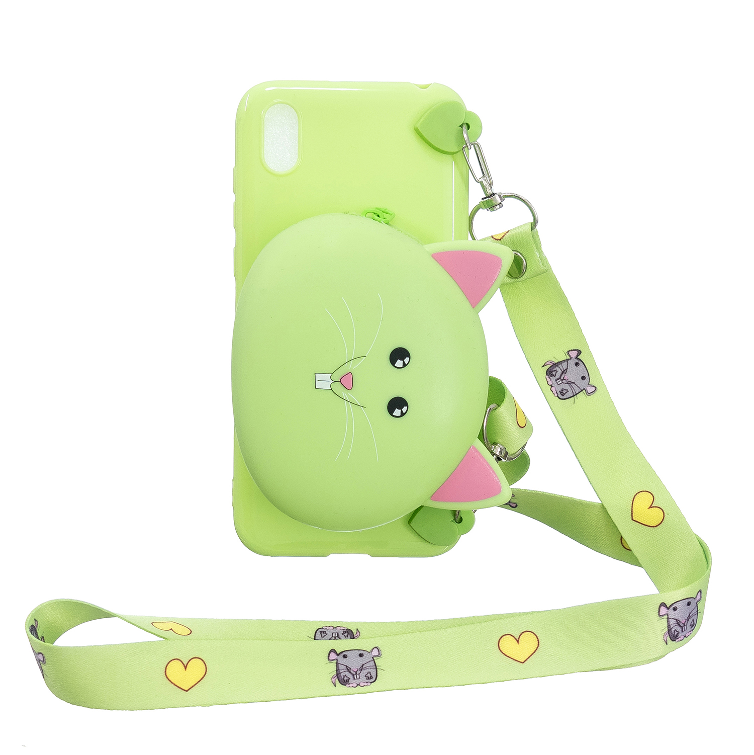For HUAWEI Y5 2018/Y5 2019 Cellphone Case Mobile Phone Shell Shockproof TPU Cover with Cartoon Cat Pig Panda Coin Purse Lovely Shoulder Starp  Green