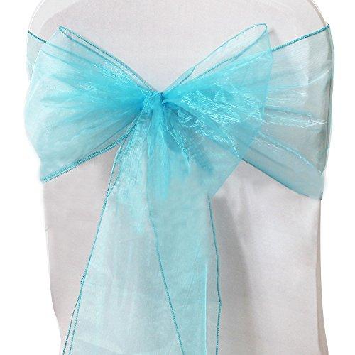 [US Direct] Imixcity Beautiful Organza Chair Ribbon Bows Sash for Wedding or Banquet Lake blue 10PCS