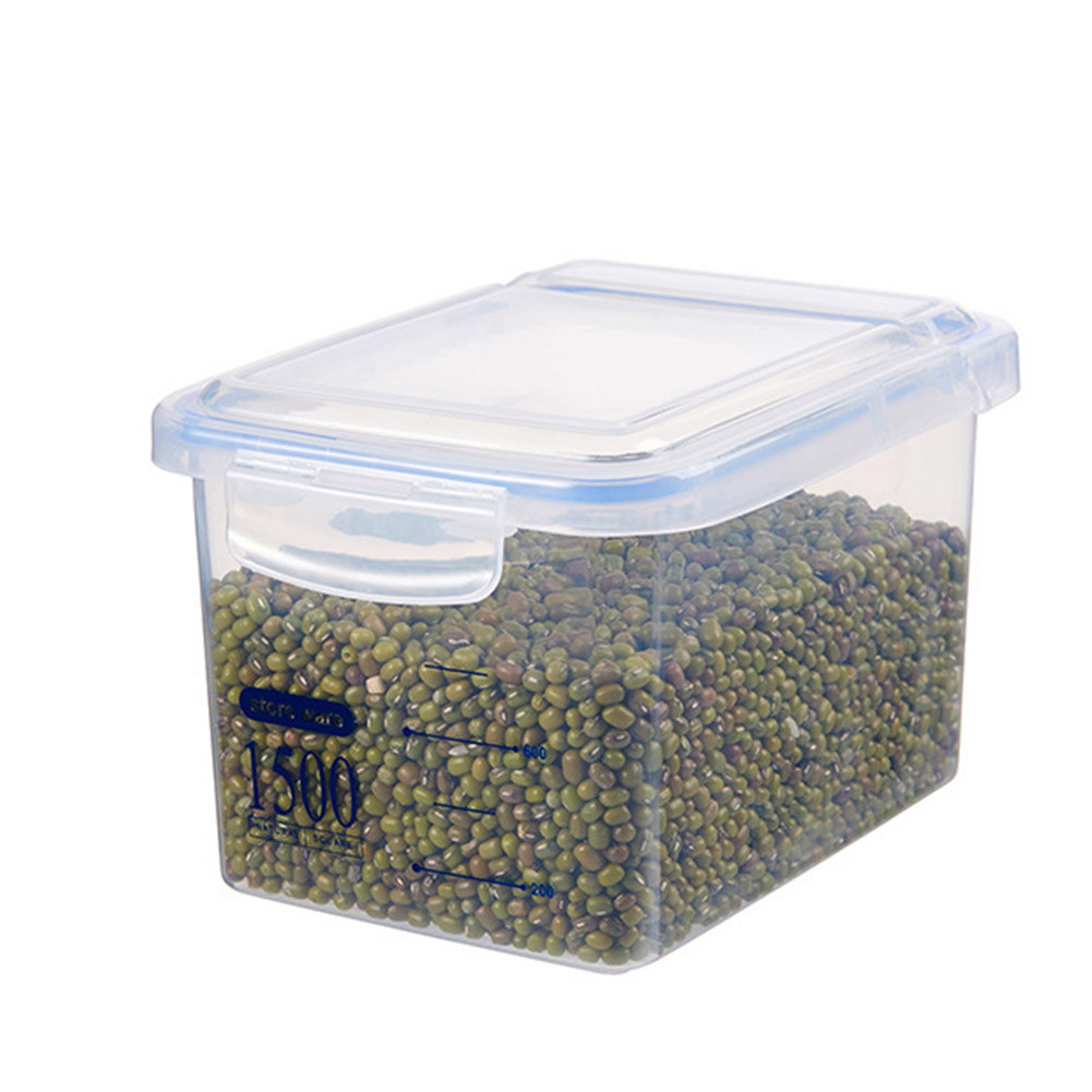Storage Case Square Plastic Kitchen Cereals Fresh-keeping Dried Fruit Milk Powder Sealed Tank Blue 1500ml
