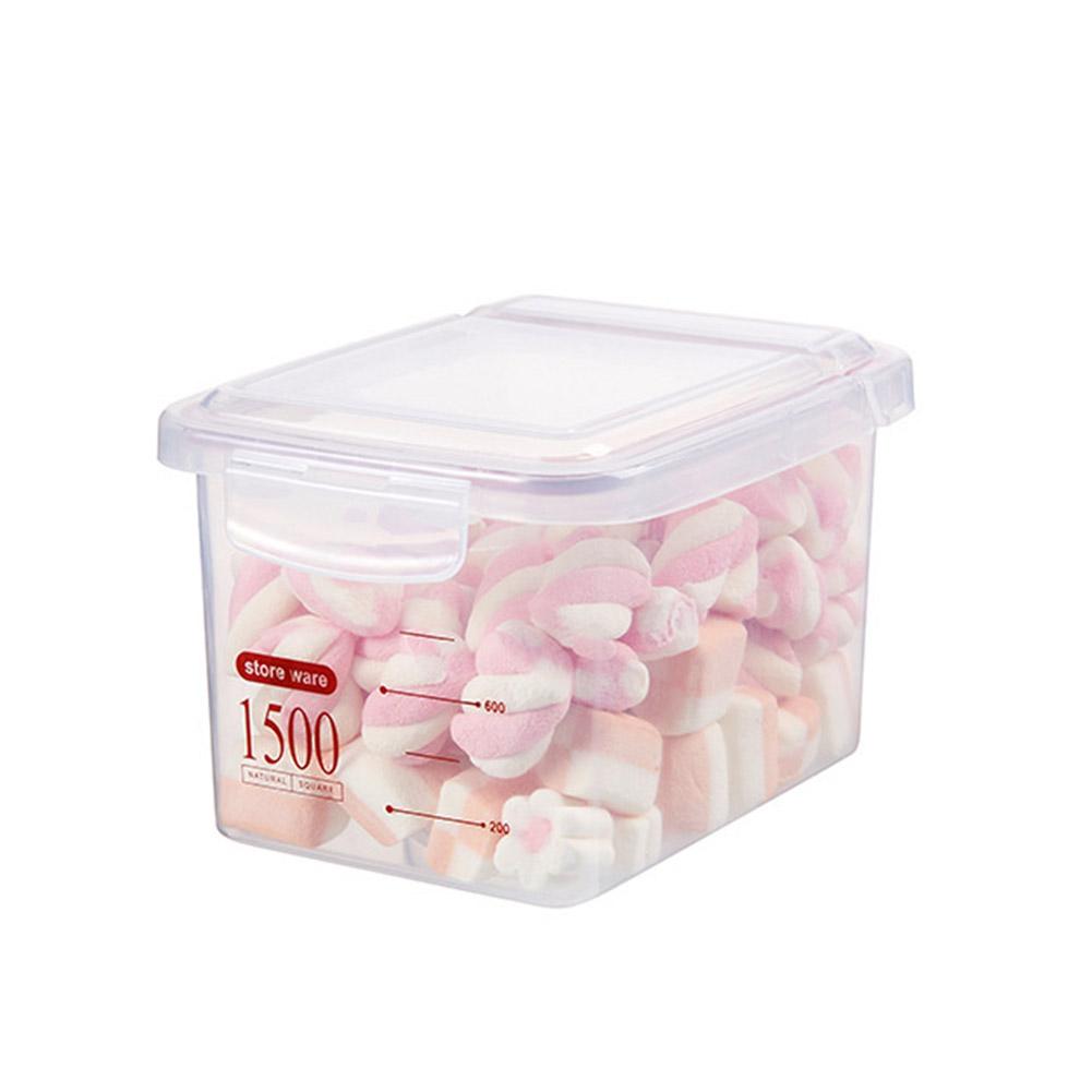 Storage Case Square Plastic Kitchen Cereals Fresh-keeping Dried Fruit Milk Powder Sealed Tank Red 1500ml