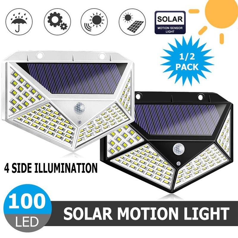 2Pcs 100LEDs Solar Wall Light Four-Sided Illumination Motion Sensor Outdoor Garden Path Alley Street Night Lighting White shell_2PCS
