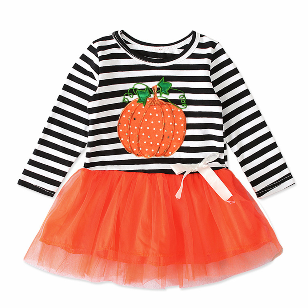 Kids Long Sleeves Strips Decor Tulle Girl Dresses Cute Halloween Pumpkin Girls Dress  Orange CC01647_100 yards