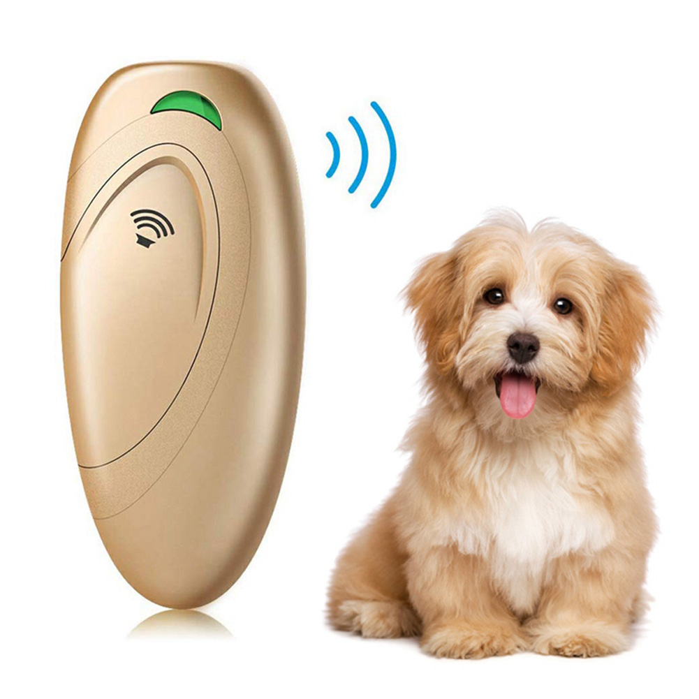 Ultrasonic Stop Device Portable Manual Bark Control Anti Bark Pet Trainer Gold