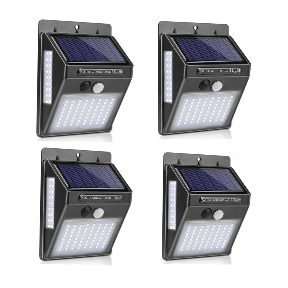 100LEDs 3 Sides Luminous Solar Powered Light Control IP65 Waterproof Motion Sensor Wall Light 64+18+18led