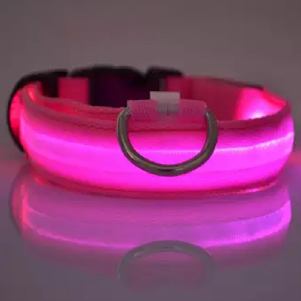 LED Pet Cat Dog Collar Night Safety Luminous Necklaces for Outdoor Walking pink_XL
