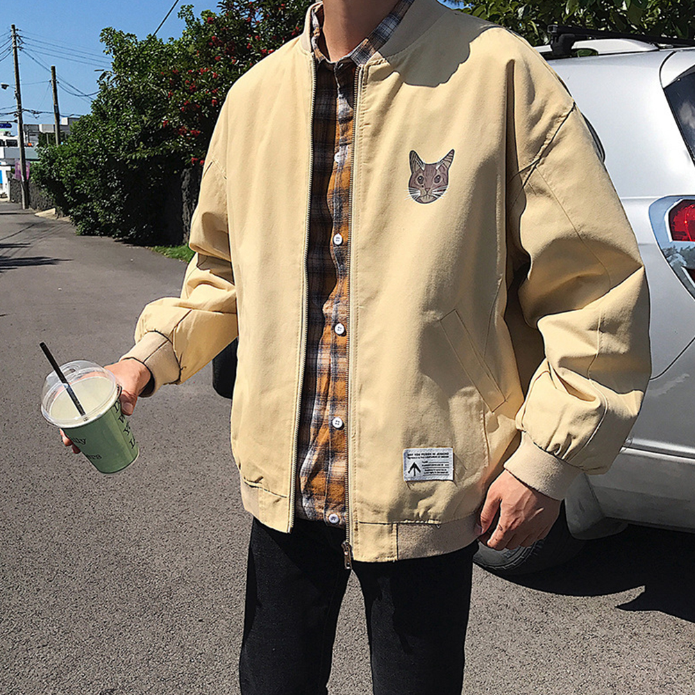 Casual Baseball Jacket with Cat Decor Long Sleeves Zippered Cardigan Top for Man Khaki_L