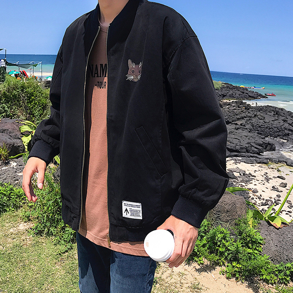 Casual Baseball Jacket with Cat Decor Long Sleeves Zippered Cardigan Top for Man black_M