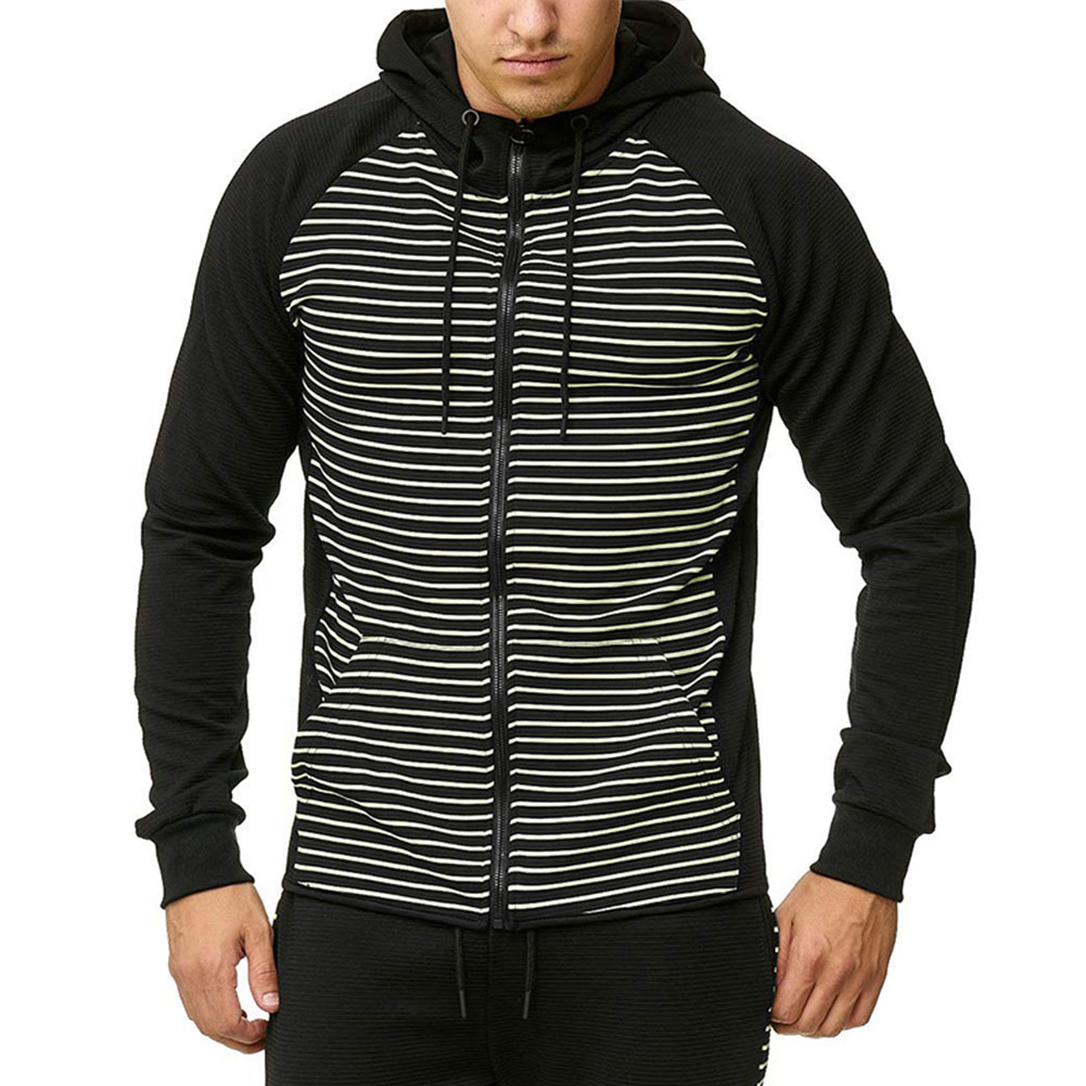 Men Zipper Sweatshirt Coat Spring Autumn Stripes Hooded Zipper Cardigan White strip_2XL