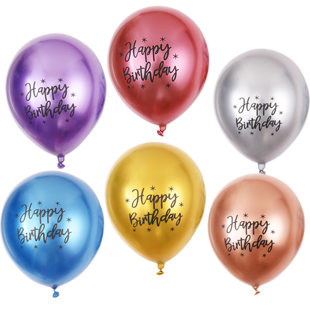 50pcs Balloons 12 Inch 2.8g Chrome Latex Balloon Happybirthday Party Decoration For Kids Color mixing