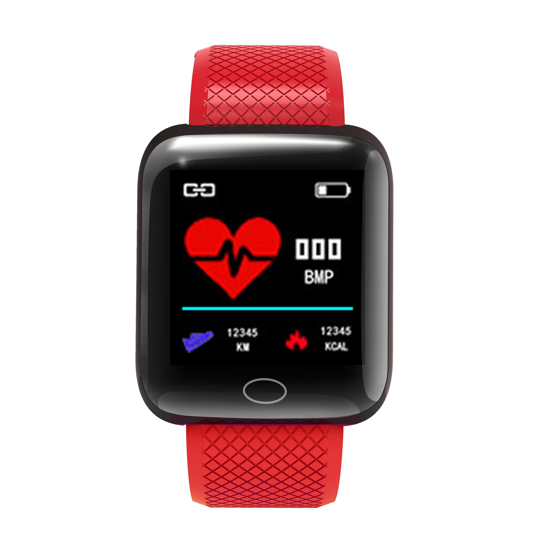 D13 Smart  Bracelet Step Heart Rate Blood Pressure Sleep Alarm Clock Usb Charge Color Screen Smart Bracelet red