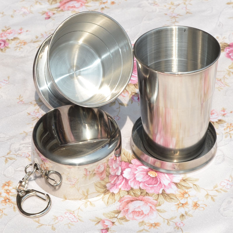 Stainless Steel Portable Camping Folding Collapsible Cup Metal Telescopic Keychain 75ml
