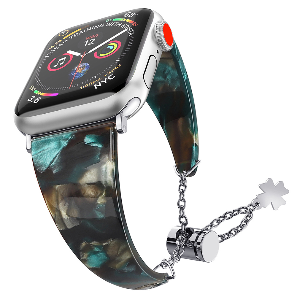 Stylish Waterproof Resin Metal Adjustable Strap Watch Band for Apple Watch1/2/3/4 pearly-lustre floral green 42MM