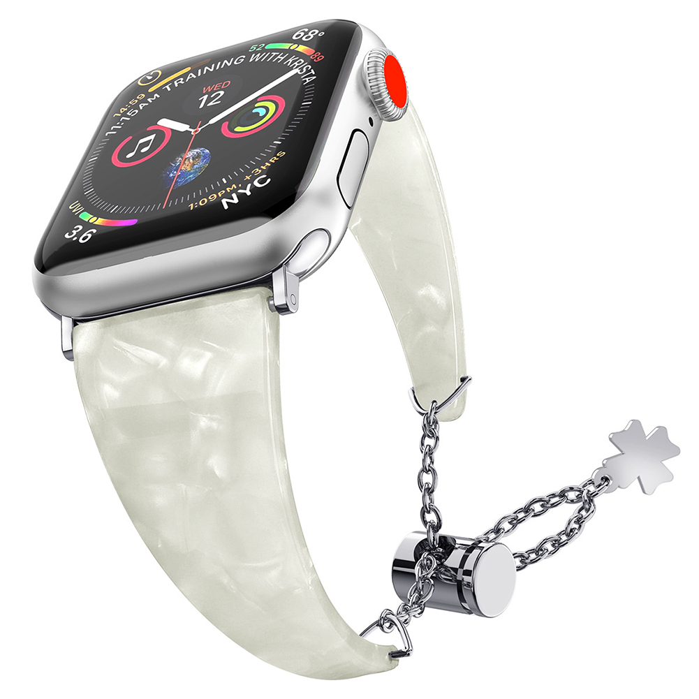 Stylish Waterproof Resin Metal Adjustable Strap Watch Band for Apple Watch1/2/3/4 Cloud white 38MM