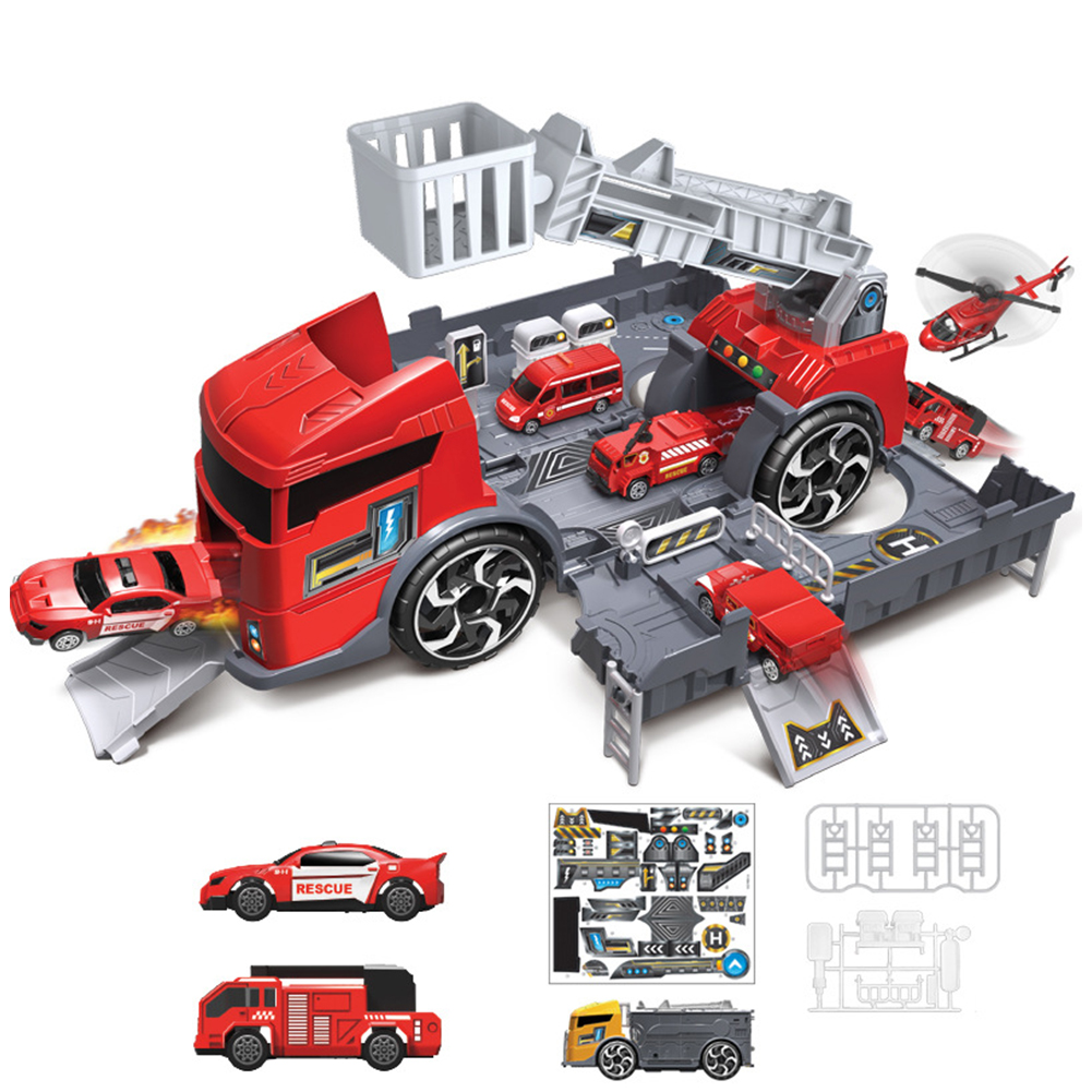 Children Simulation Fire Engineering Vehicle Parking Lot Educational  Pull-back Car Set for Kids red
