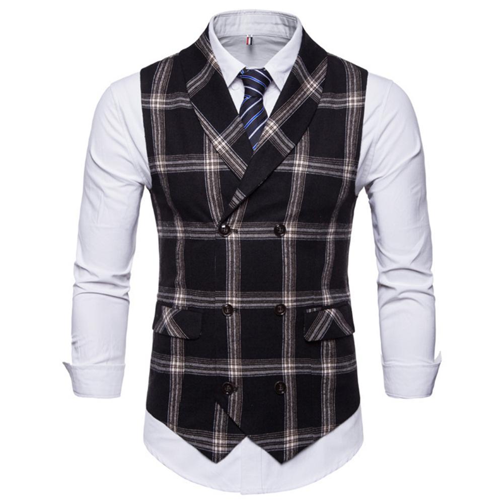 Men Plaid Suit Waistcoat Leisure Style Slim Double-breasted Waistcoat Black grid_XL