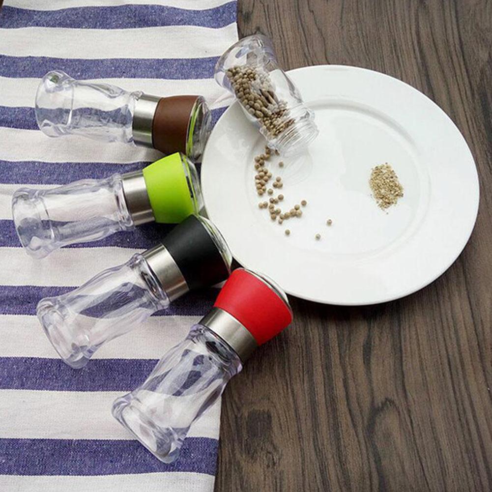 Kitchen Grinding Bottles Tools Salt Pepper Mill Grinder Seasoning Condiment Jar Holder black
