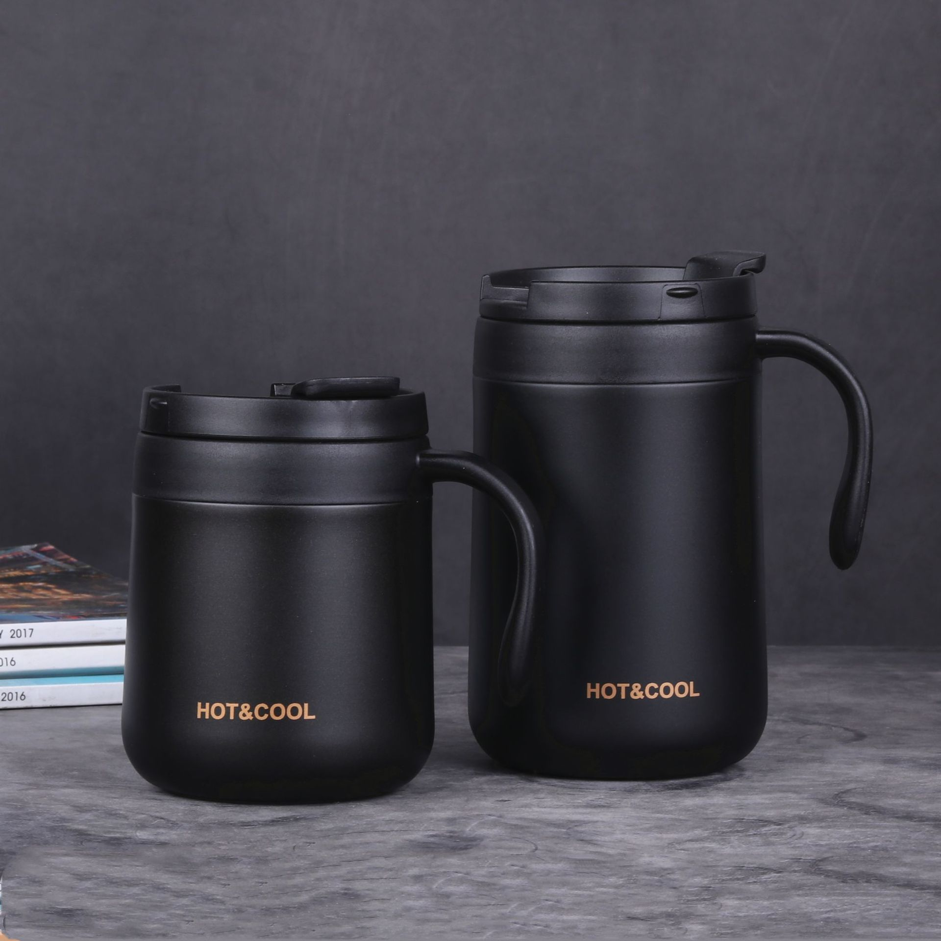 Vacuum Thermos  Cup  Stainless   Steel Double Layer Mini Tea Coffee  Cup With Lid Non-slip black